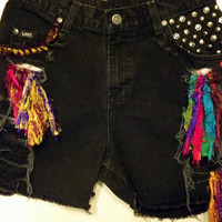 Black Tribal Cut off Shorts Lee Colorful Silks and by twazzy