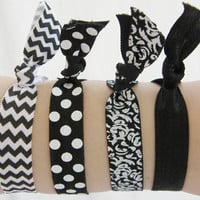 Set Of 4 Hair Ties Black and White Chevron Polka Dot Solid Damask Yoga Bracelet No Crease
