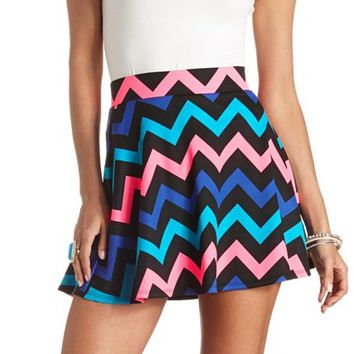 NEON CHEVRON HIGH-WAISTED SKATER SKIRT