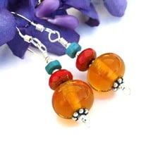 Amber Lampwork Handmade Earrings Turquoise Red Glass Beaded Jewelry