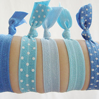 Set Of 5 Hair Ties Blue and White Polka Dot Solid Yoga Bracelet No Crease