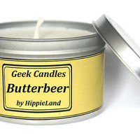 Butterbeer Scented Soy Tin Candle 8oz. Harry Potter Candle. Soy Candle. Soy Candles, Soy Tin Candles. Tin Candle, Candles