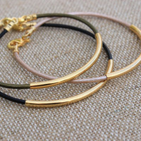Gold Leather Bangle