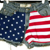 American Flag Shorts Frayed Hem Red White and Blue Levi by twazzy
