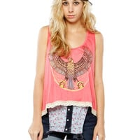 Papaya Clothing Online :: EAGLE GRAPHIC TRIMMING SLEEVELESS TOP