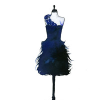Watercolor Fashion Illustration - Blue Midnight Dress print