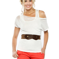 Papaya Clothing Online :: LAYERED KNIT BELTED DRESSY TOP