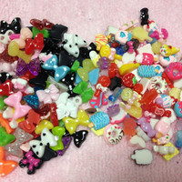 50pc Mini Sweets & Bows Assorted Flat Back Resin Cabochons Nail Art Decoration