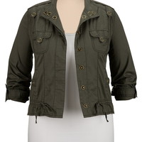 snap front plus size shirt jacket