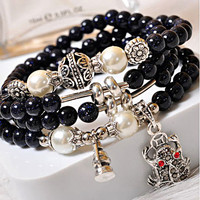 Vintage New Fashion Cute Style Agate Wrap Leather Bracelet Silver/P Heart Charms