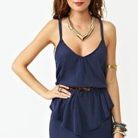 Twisted Peplum Dress - Navy in What's New at Nasty Gal