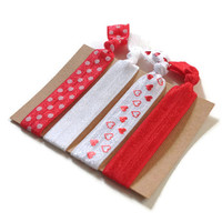 Elastic Hair Ties Red and White Hearts Polka Dots No Crease Yoga Hair Bands