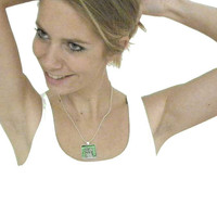 Pendant silver plated emerald Fashion jewelry by LouisestArt