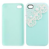 Lace Pearl Green Hard Back Skin Case Cover for iPhone 4 4s 4G
