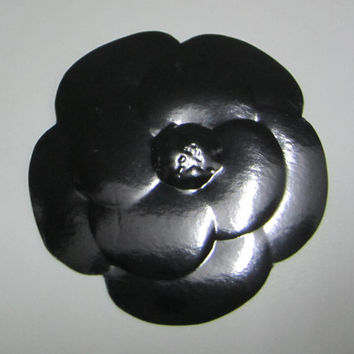 Authentic CHANEL Black Paper Camellia Flower Sticker / Gift Wrapping / Paper Craft / Card / DIY *RARE*