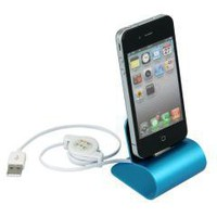 Blue USB Aluminum Charger Desktop Cradle Dock Station Stand for iPhone 4 4s