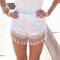 TASSEL SHORTS , DRESSES, TOPS, BOTTOMS, JACKETS & JUMPERS, ACCESSORIES, 50% OFF SALE, PRE ORDER, NEW ARRIVALS, PLAYSUIT, COLOUR, GIFT VOUCHER,,SHORTS,White,Print,LACE,MINI Australia, Queensland, Brisbane