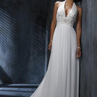 Beautiful White A-line Halter Neckline Wedding Dress-SinoSpecial.com