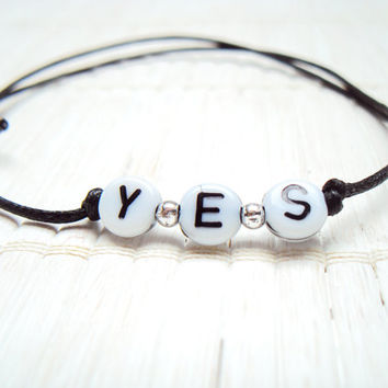 Yes Bracelet Word Bracelet Wax Cord Bracelet Simple Jewelry