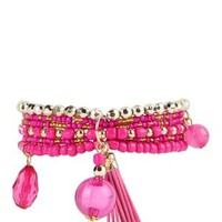 Beaded Stretch Bracelet with Tassel