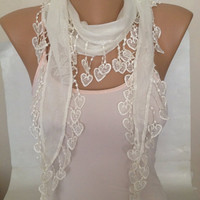 ON SALE - Cream Scarf - Heart Lace Scarf - Cowl With Lace - Cotton Lace Scarf