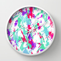 Splat Wall Clock by Ally Coxon | Society6