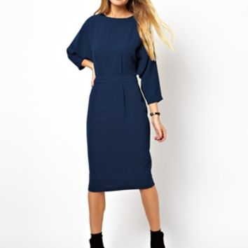 ASOS Pencil Dress In Crepe With Batwing Sleeve