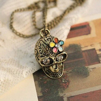 multicolour Skull Heads Vintage 1pcs flower long chain necklace girls' lovest | eBay