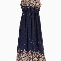 Navy Sleeveless Long Maxi Dress w/ Gold Floral Details