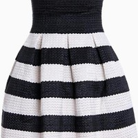 Black & White Striped Mini Skater Skirt