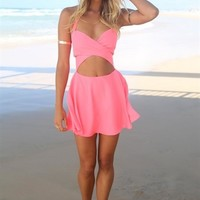 Hot Pink Sleeveless Mini Dress w/ Cut Outs