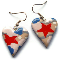 Heart drop earrings Red pink and blue star by KireinaJewellery