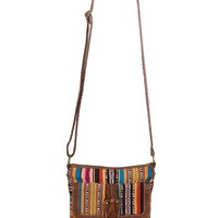 Striped blanket crossbody bag