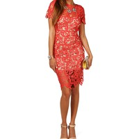 Cheyenne- Red Metallic Lace Midi Dress