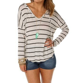 Lt. Brown Stripe Hooded Sweatshirt