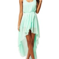 Wiipu Women's love chiffon dress with asymetric style(WP-J59) - Small - Green