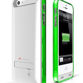 Alpatronix BX120 Apple MFi Certified & Approved Extended Protective Battery Case for iPhone 5S & iPhone 5 with Ultra Slim Removable Rechargeable External Battery Charging Case and Built-in Stand: iOS 7+ Compatible - 2400mAh Built-in Battery / Slimfit / Lig