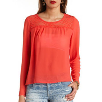 AZTEC LACE CUT-OUT CHIFFON TOP