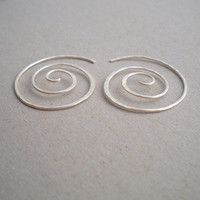 Sterling silver earrings Silver swirl earrings by CatnipJewelry