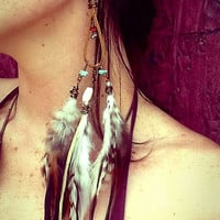 Tiger Lily leather chandelier feather earrings by SpiritTribe