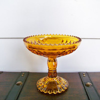 Amber Glass Pedestal Serving Compote by EraGlassCo on Etsy