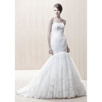Tulle Strapless Sweetheart Neckline Mermaid Wedding Dress - Basadress.com