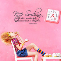 &#x27;Keep Smiling&#x27; Marilyn Monroe Wall Decal 