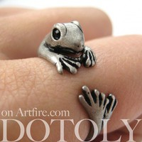 Miniature Lizard Gecko Animal Ring in Silver - Sizes 4 to 9 Available | dotoly - Jewelry on ArtFire