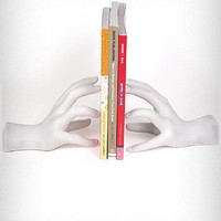 Sculptural White Hands Bookends