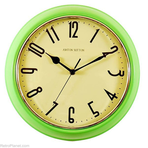 Green Clocks Retro Kitchen Wall Clock RetroPlanet.com