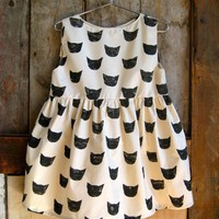 Black Cat Print Dress by leahgoren on Etsy