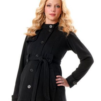Motherhood Maternity: 1 Button Closure Fleece Maternity Jacket