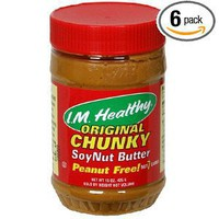 I.M. Healthy Soy Nut Butter, Peanut Free, Chunky, 15-Ounce Plastic Jars (Pack of 6)