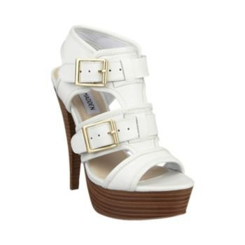 CRITIKAL WHITE LEATHER women's dress high platform - Steve Madden